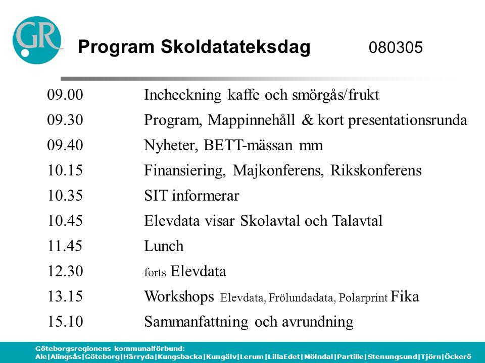 Göteborgsregionens kommunalförbund: Ale|Alingsås|Göteborg|Härryda|Kungsbacka|Kungälv|Lerum|LillaEdet|Mölndal|Partille|Stenungsund|Tjörn|Öckerö Gruppindelning WORKSHOP-program 13.15 Grupp 1 Visning av MIMIO (Frölundadata) Grupp 2 Väljer mellan Workshop Daisyspelare (Polarprint) och Workshop Skol- och Talavtalet (Elevdata) 14.10Grupp 1 Väljer mellan Workshop Daisyspelare (Polarprint) och Workshop Skol- och Talavtalet (Elevdata) Grupp 2 Visning av MIMIO (Frölundadata) Grupp 1: Alingsås – Laholm samt 1 SIT Grupp 2: Lerum – Öckerö samt 2 SIT