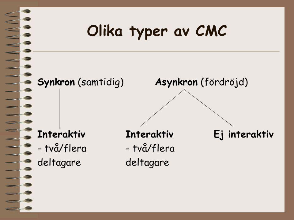 Olika typer av CMC Synkron (samtidig) Asynkron (fördröjd) InteraktivInteraktiv Ej interaktiv- två/fleradeltagare