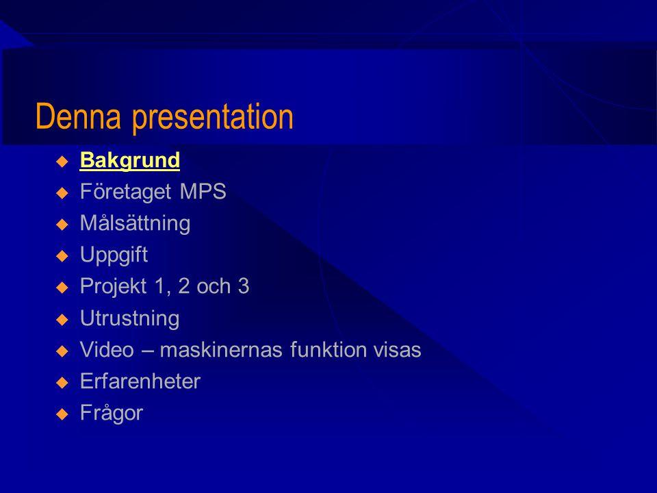 Denna presentation  Bakgrund  Företaget MPS AB (Modular Packaging Systems AB)  Målsättning  Uppgift  Projekt 1, 2 och 3  Utrustning  Video – maskinernas funktion visas  Erfarenheter  Frågor
