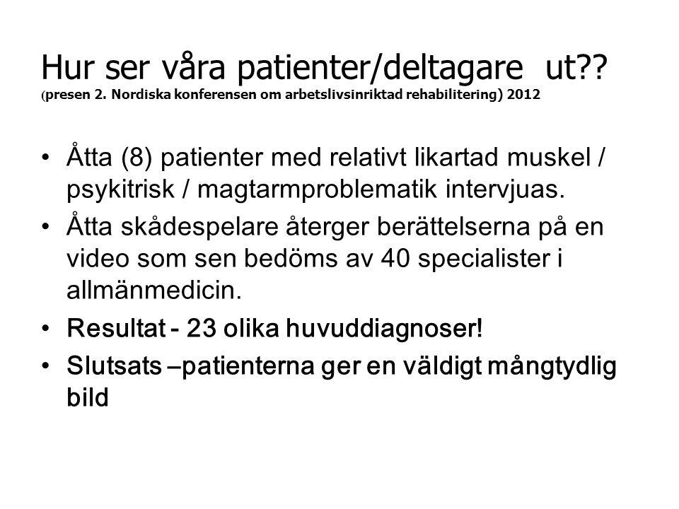 Hur ser våra patienter/deltagare ut?? ( presen 2. Nordiska konferensen om arbetslivsinriktad rehabilitering) 2012 •Åtta (8) patienter med relativt lik