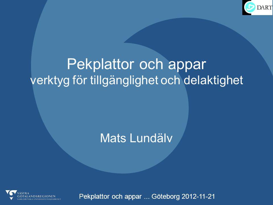 Pekplattor och appar... Göteborg 2012-11-21 Pekplattor och appar verktyg för tillgänglighet och delaktighet Mats Lundälv