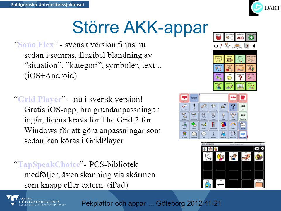"""Pekplattor och appar... Göteborg 2012-11-21 Större AKK-appar """"Sono Flex"""" - svensk version finns nu sedan i somras, flexibel blandning av """"situation"""","""