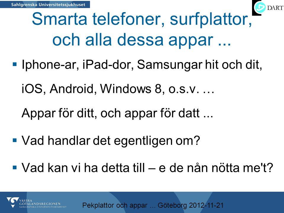 Pekplattor och appar... Göteborg 2012-11-21 Smarta telefoner, surfplattor, och alla dessa appar...  Iphone-ar, iPad-dor, Samsungar hit och dit, iOS,