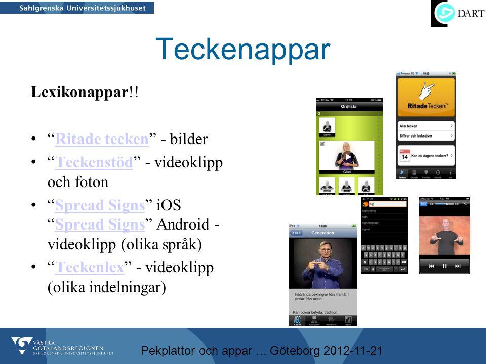 """Pekplattor och appar... Göteborg 2012-11-21 Teckenappar Lexikonappar!! • """"Ritade tecken"""" - bilderRitade tecken • """"Teckenstöd"""" - videoklipp och fotonTe"""