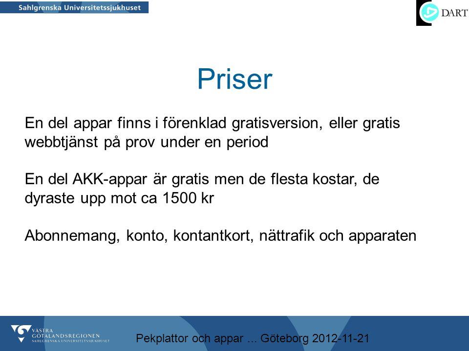 Pekplattor och appar... Göteborg 2012-11-21 Priser En del appar finns i förenklad gratisversion, eller gratis webbtjänst på prov under en period En de