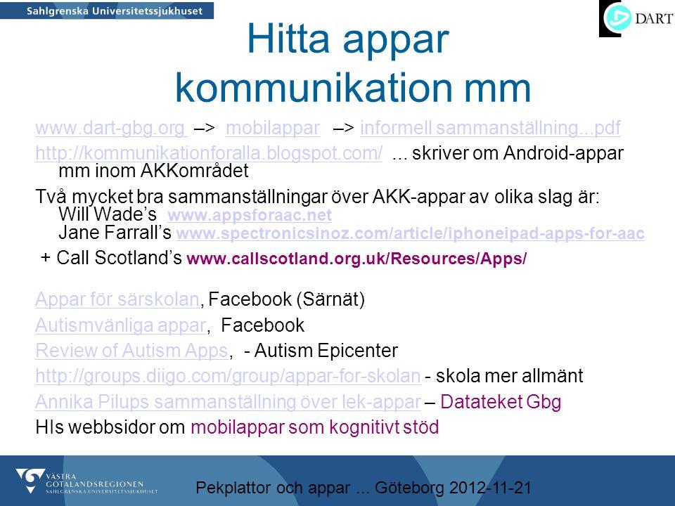 Pekplattor och appar... Göteborg 2012-11-21 Hitta appar kommunikation mm www.dart-gbg.org www.dart-gbg.org –> mobilappar –> informell sammanställning.