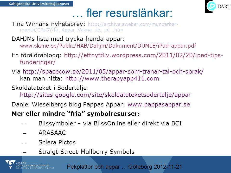Pekplattor och appar... Göteborg 2012-11-21 … fler resurslänkar: Tina Wimans nyhetsbrev: http://archive.aweber.com/munderbar- month/CPzGY/h/_Appar_Vak