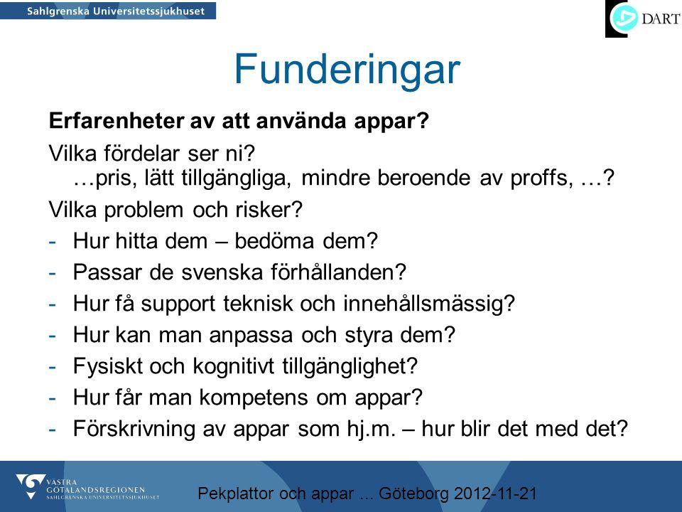 Pekplattor och appar... Göteborg 2012-11-21 Funderingar Erfarenheter av att använda appar? Vilka fördelar ser ni? …pris, lätt tillgängliga, mindre ber