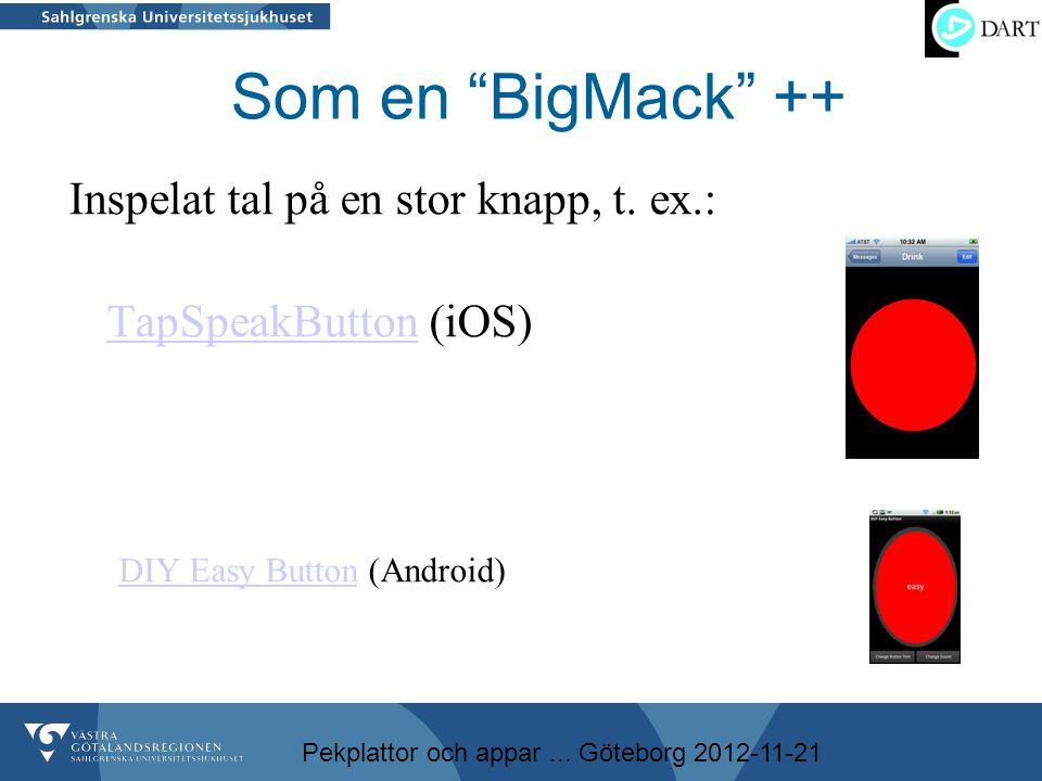 """Pekplattor och appar... Göteborg 2012-11-21 Som en """"BigMack"""" ++ Inspelat tal på en stor knapp, t. ex.: TapSpeakButton (iOS) TapSpeakButton DIY Easy Bu"""