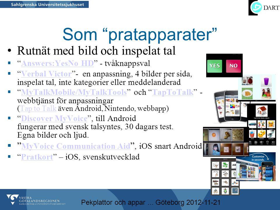 """Pekplattor och appar... Göteborg 2012-11-21 Som """"pratapparater"""" • Rutnät med bild och inspelat tal  """"Answers:YesNo HD"""" - tvåknappsvalAnswers:YesNo HD"""
