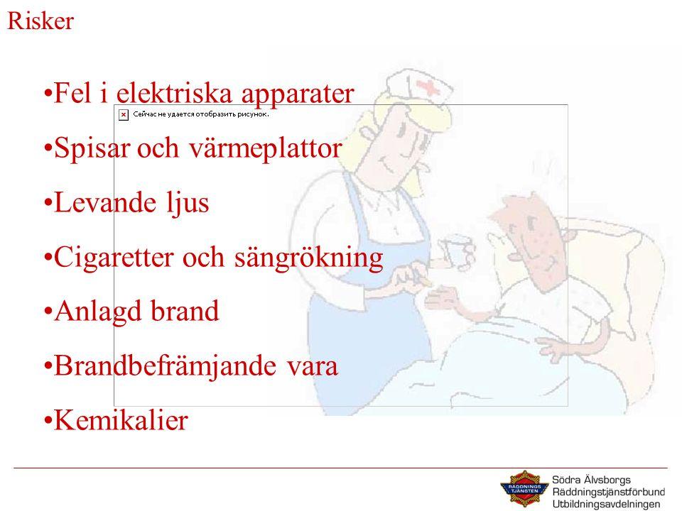 Risker •Fel i elektriska apparater •Spisar och värmeplattor •Levande ljus •Cigaretter och sängrökning •Anlagd brand •Brandbefrämjande vara •Kemikalier