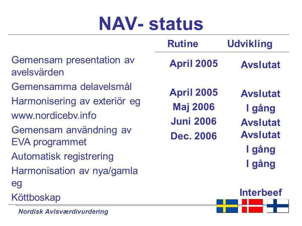 Nordisk Avlsværdivurdering Harmonisering av registreringar  Harmonisering av exteriör eg.