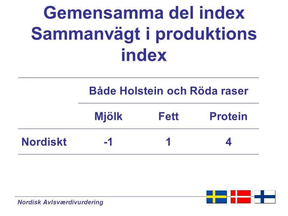 Nordisk Avlsværdivurdering Avelsvärden kan jämföras inom de nordiska länderna 1Ko 9Finland 2Ko 5Sverige 3Ko 1Danmark 4Ko 2Danmark 5Ko 6Sverige Nordisk