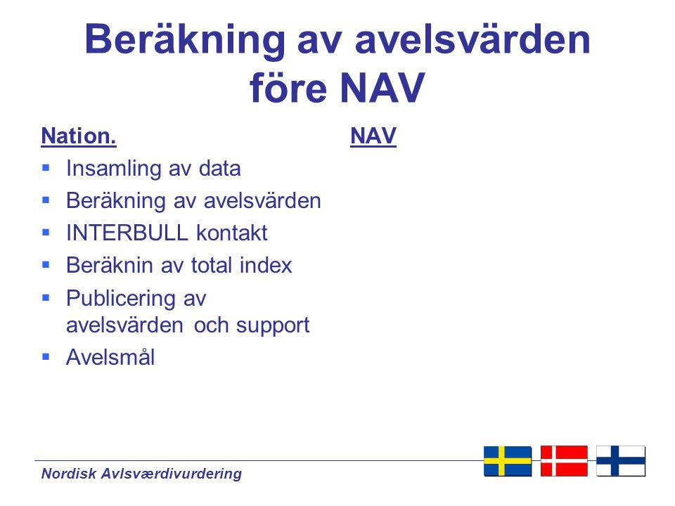 Nordisk Avlsværdivurdering Beräkning av avelsvärden nation.