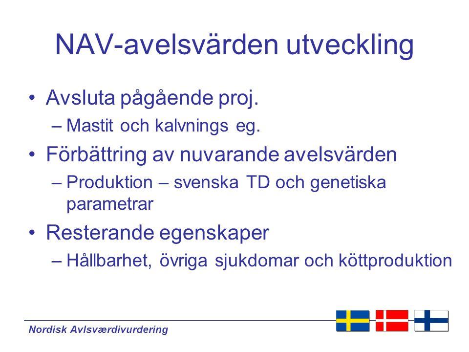 Nordisk Avlsværdivurdering NAV-avelsvärdens utveckling •Benegenskaper –Rörelser, klövhälsa •Automatiska registreringar –Mjölkningstid, progesteron, spenplacering, andra Venus mål •Korsningsavelsvärdering •QTL