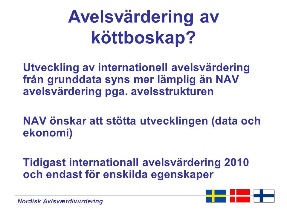 Nordisk Avlsværdivurdering Internationell avelsvärdering för köttboskap  För kor och tjurar  Baserat på grunddata  Nationell avelsvärdering kan gradvis upphöra