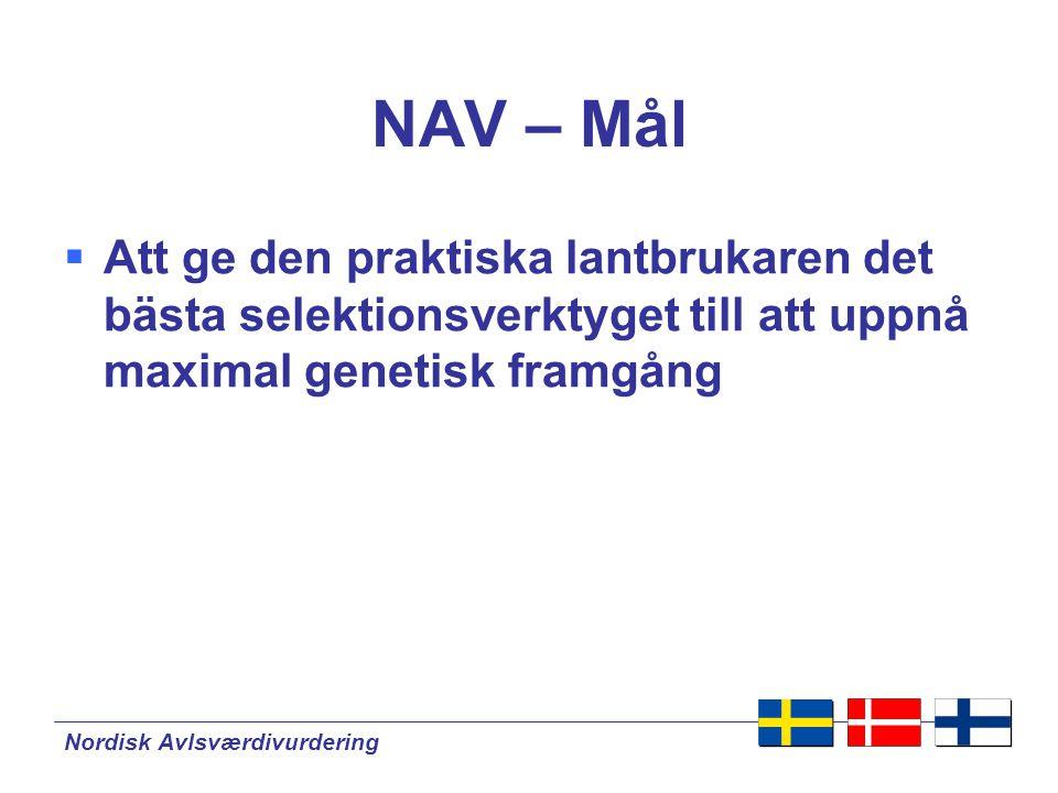 Nordisk Avlsværdivurdering Perspektiv – gemensam nordisk avelsvärdering  Mer effektiv användning av resurserna:  Utveckling av nya metoder  Rutin avelsvärdering  Gemensam plattform för praktiskt avelsarbete