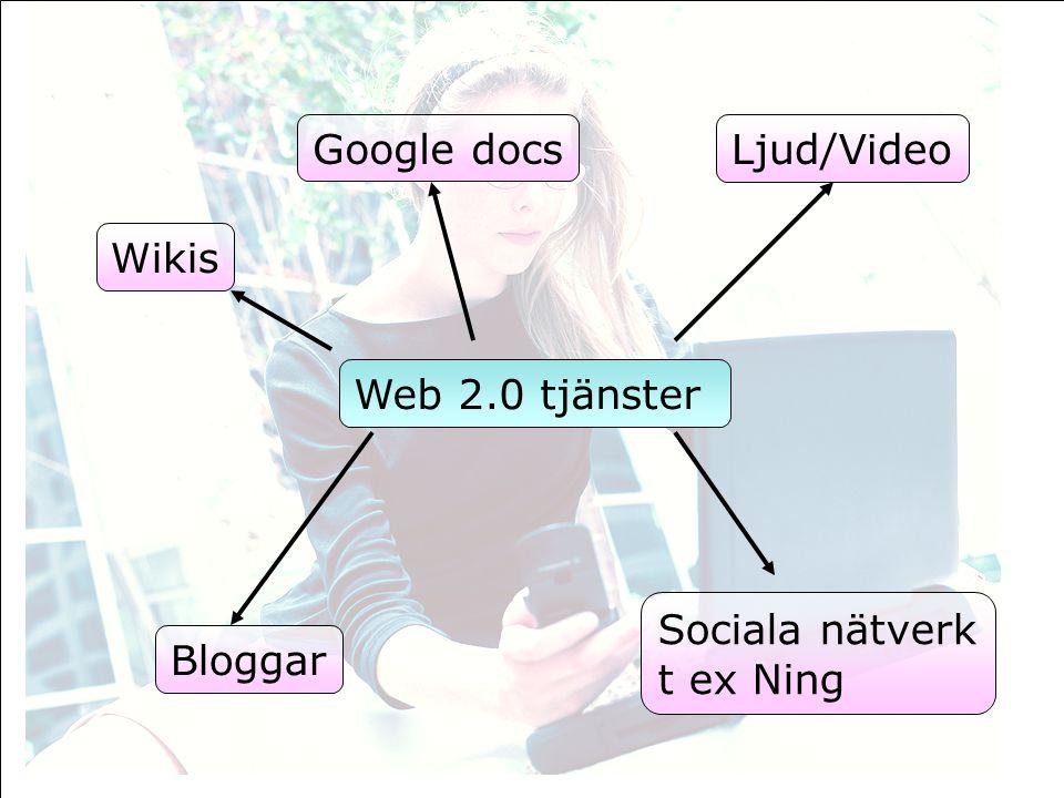 Wikis Bloggar Sociala nätverk t ex Ning Ljud/Video Google docs Web 2.0 tjänster