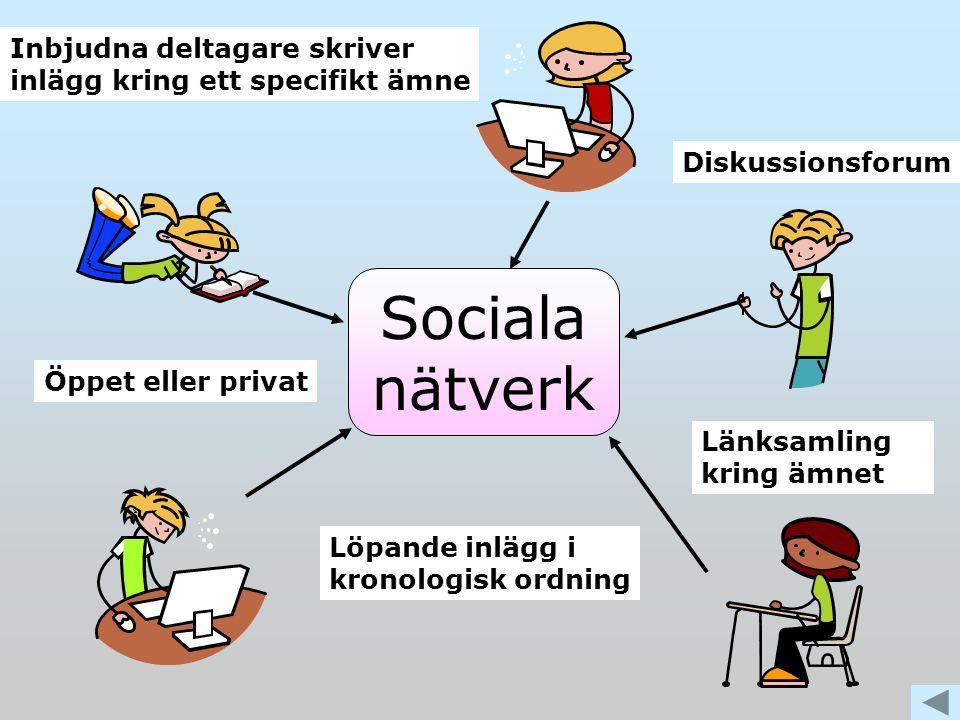 Sociala nätverk Inbjudna deltagare skriver inlägg kring ett specifikt ämne Löpande inlägg i kronologisk ordning Länksamling kring ämnet Diskussionsforum Öppet eller privat