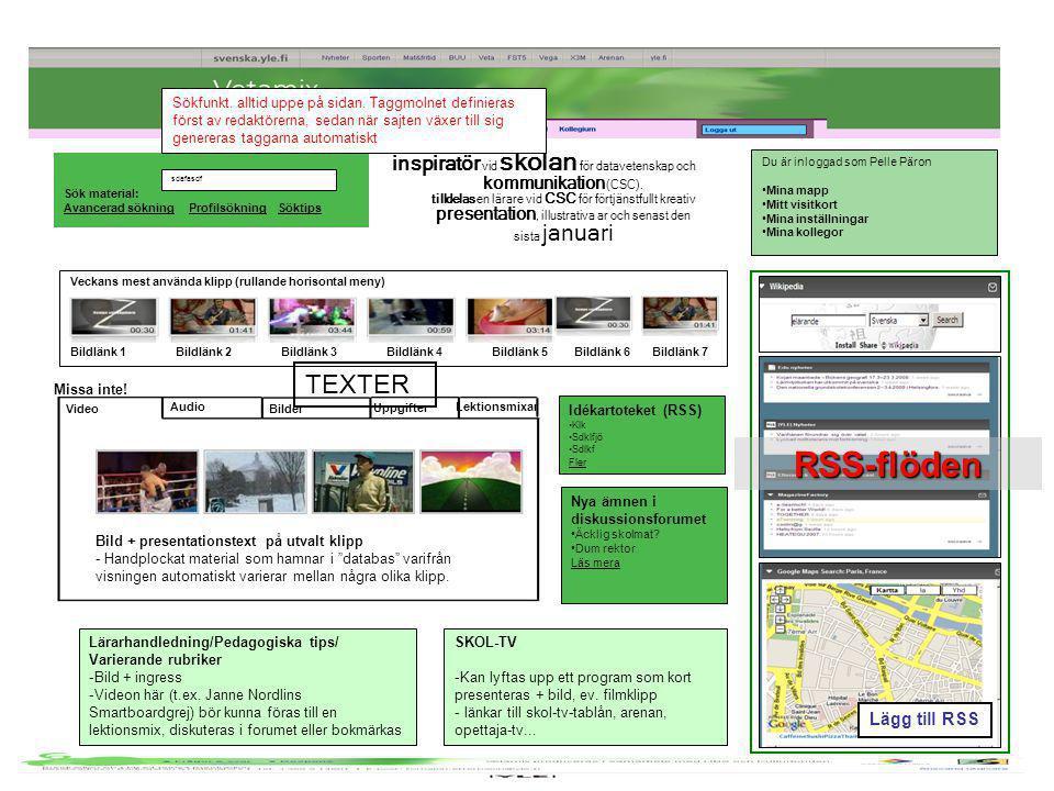 Sök material: Avancerad sökning Profilsökning Söktips sdafasdf inspiratör vid skolan för datavetenskap och kommunikation (CSC). tilldelas en lärare vi