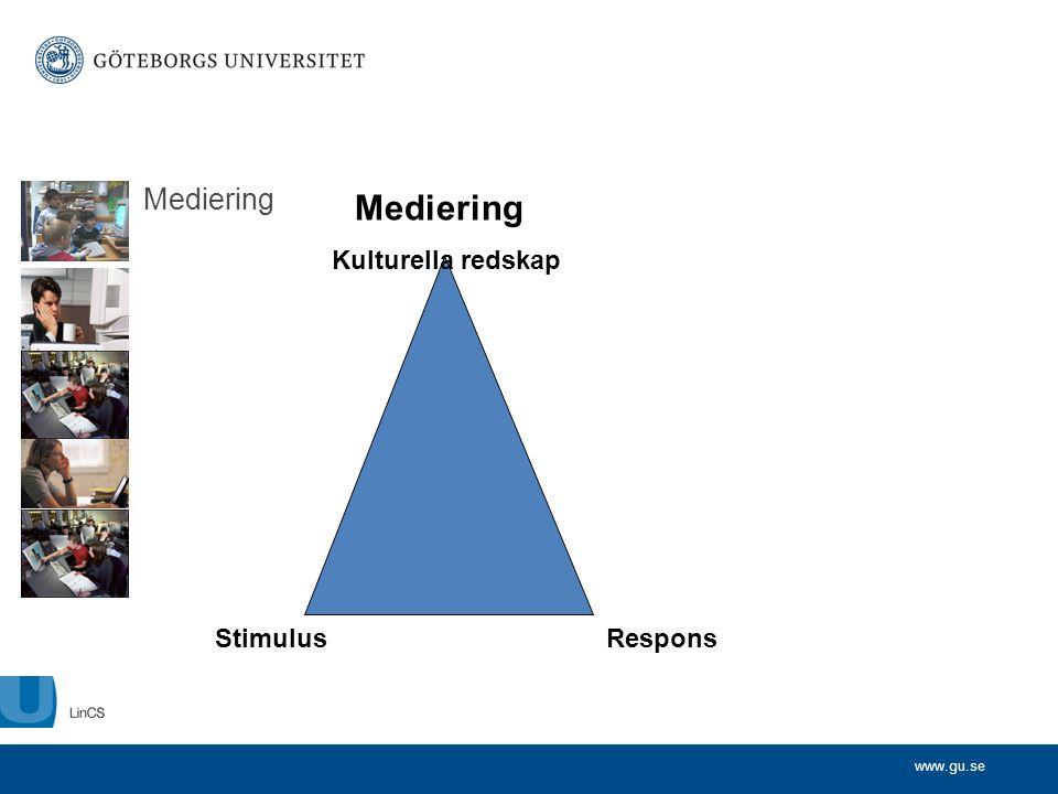 www.gu.se Mediering StimulusRespons Kulturella redskap Mediering