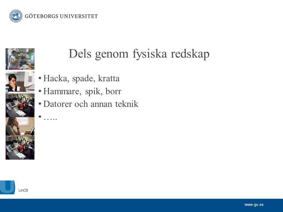 www.gu.se Dels genom fysiska redskap • Hacka, spade, kratta • Hammare, spik, borr • Datorer och annan teknik • …..