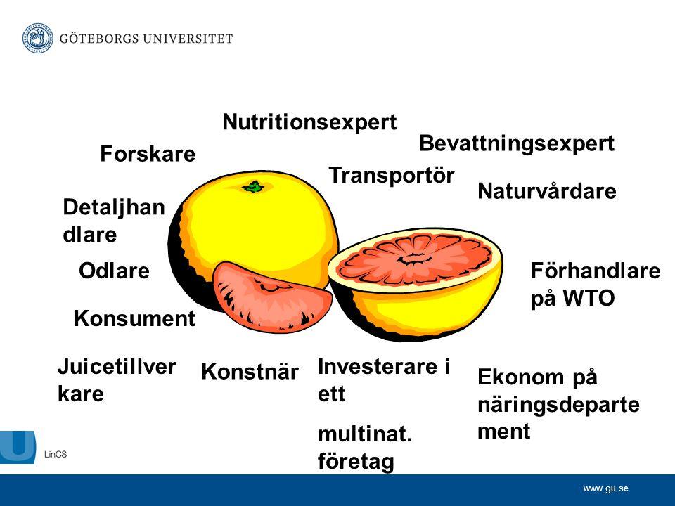 www.gu.se Odlare Detaljhan dlare Nutritionsexpert Ekonom på näringsdeparte ment Naturvårdare Konstnär Transportör Förhandlare på WTO Forskare Bevattni