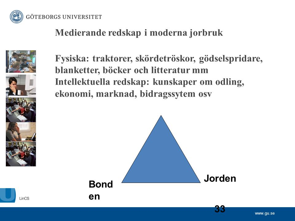 www.gu.se 33 Medierande redskap i moderna jorbruk Fysiska: traktorer, skördetröskor, gödselspridare, blanketter, böcker och litteratur mm Intellektuel