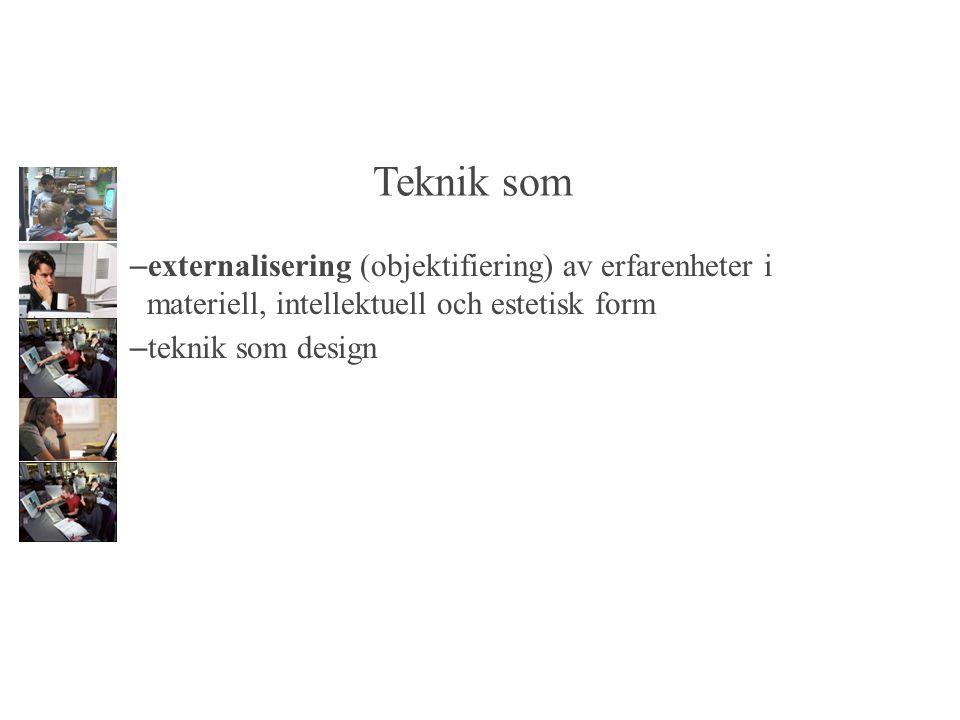 Teknik som – externalisering (objektifiering) av erfarenheter i materiell, intellektuell och estetisk form – teknik som design