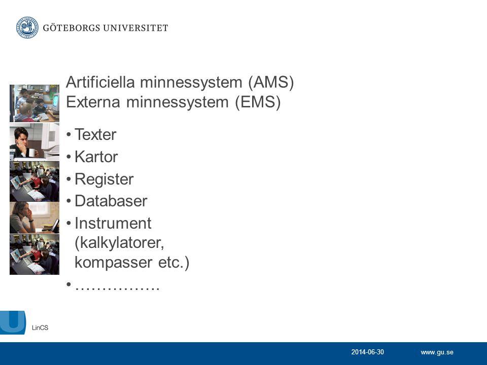 www.gu.se2014-06-30 Artificiella minnessystem (AMS) Externa minnessystem (EMS) •Texter •Kartor •Register •Databaser •Instrument (kalkylatorer, kompass