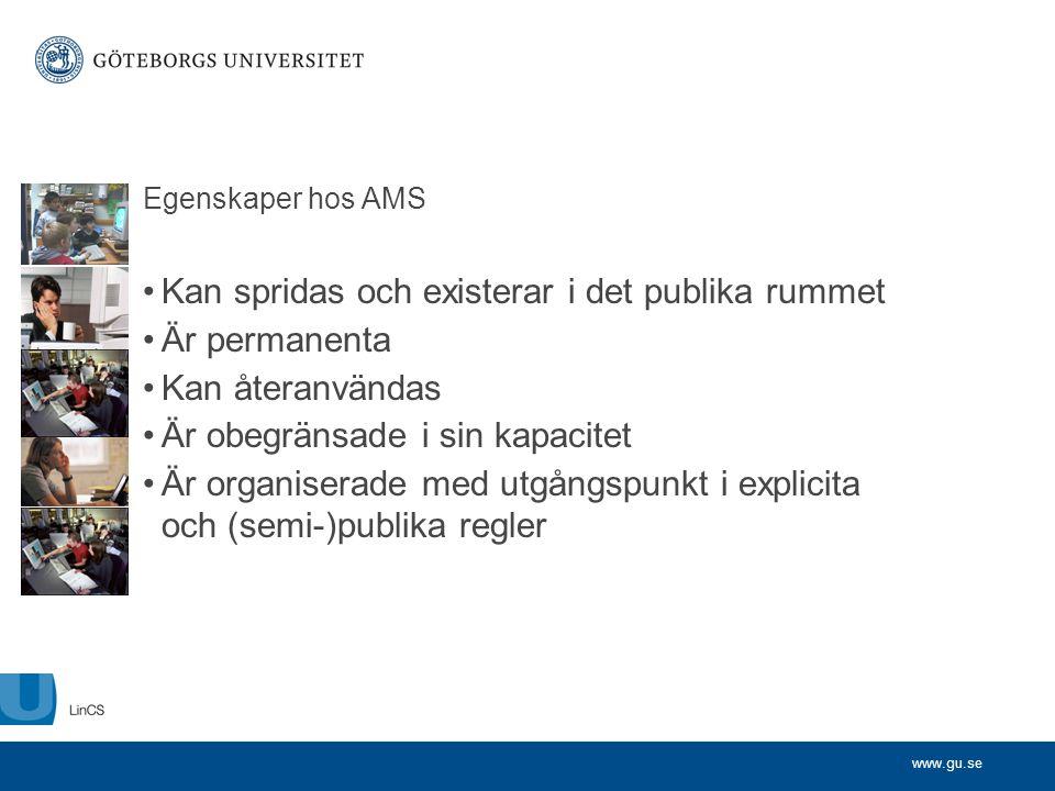 www.gu.se Egenskaper hos AMS •Kan spridas och existerar i det publika rummet •Är permanenta •Kan återanvändas •Är obegränsade i sin kapacitet •Är orga