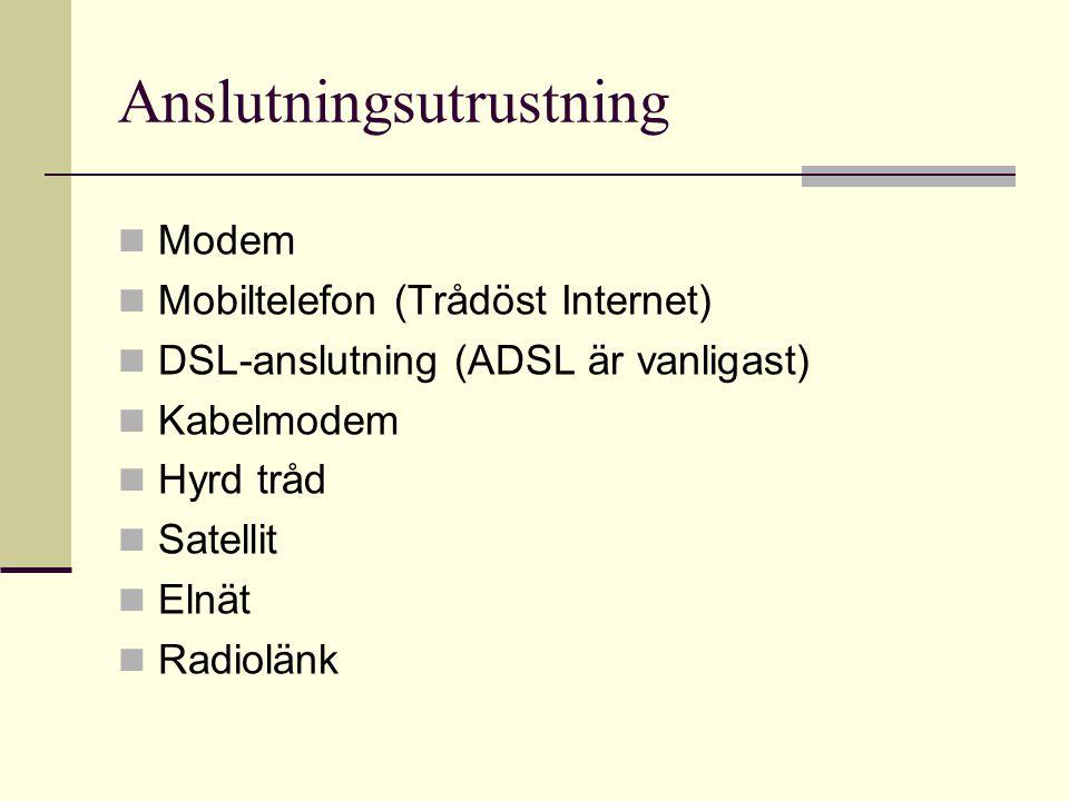 Anslutningsutrustning  Modem  Mobiltelefon (Trådöst Internet)  DSL-anslutning (ADSL är vanligast)  Kabelmodem  Hyrd tråd  Satellit  Elnät  Rad