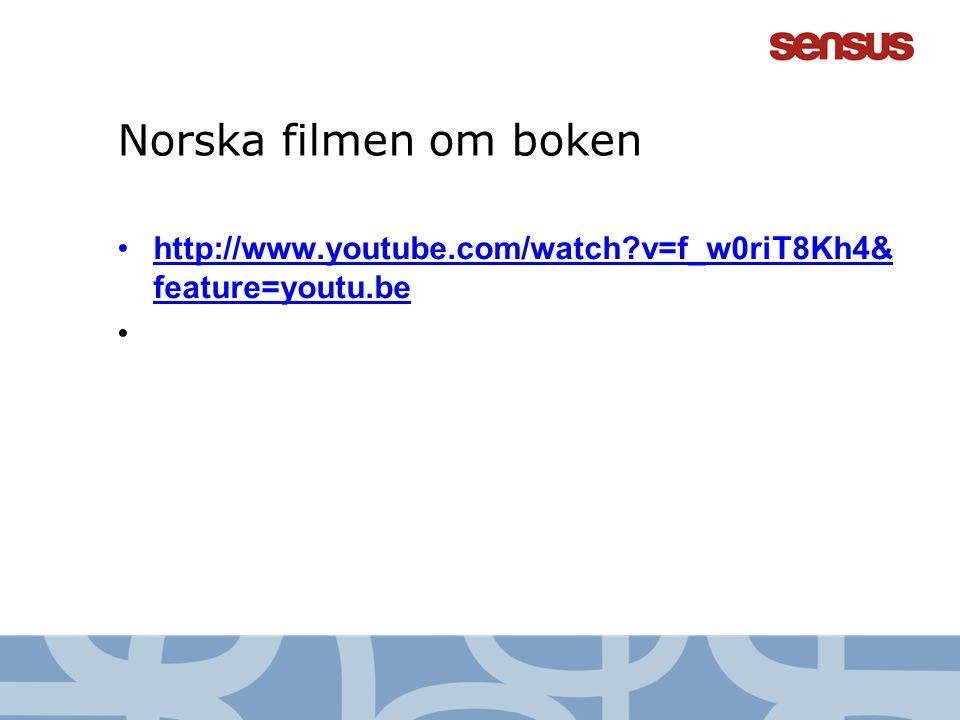 Norska filmen om boken •http://www.youtube.com/watch?v=f_w0riT8Kh4& feature=youtu.behttp://www.youtube.com/watch?v=f_w0riT8Kh4& feature=youtu.be •