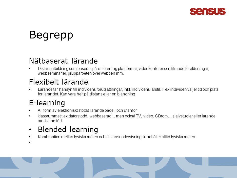 Begrepp Nätbaserat lärande •Distansutbildning som baseras på e- learning plattformar, videokonferenser, filmade föreläsningar, webbseminarier, gruppar