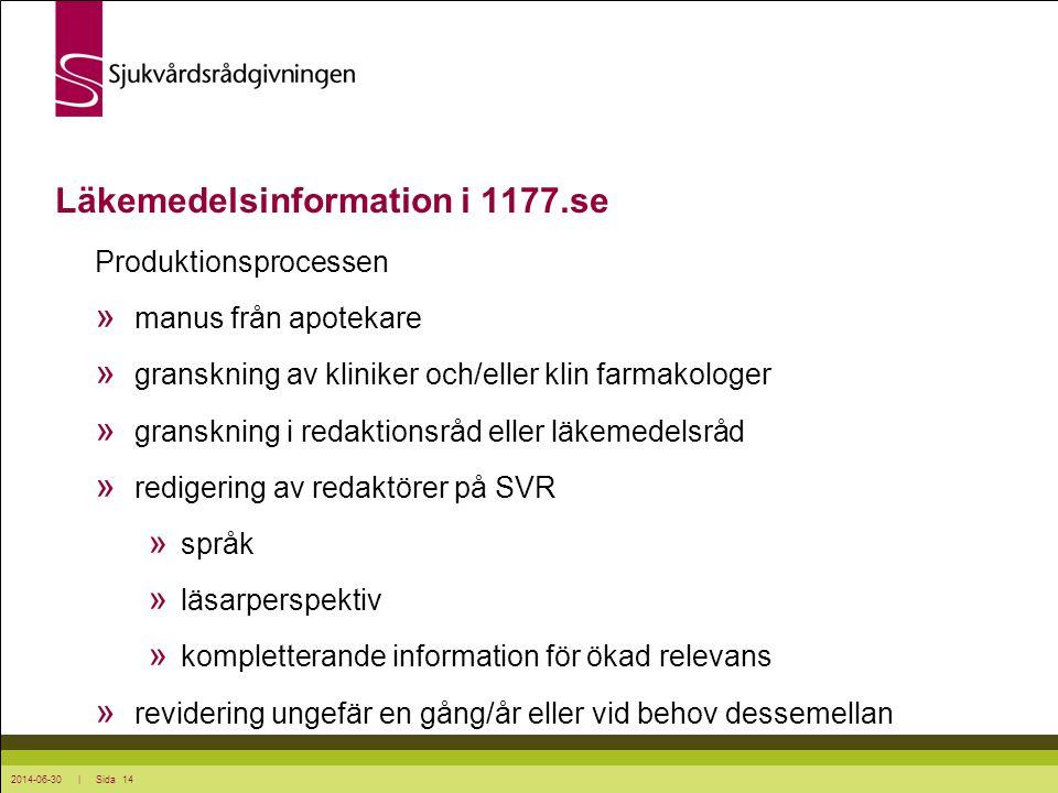 2014-06-30 | Sida 14 Produktionsprocessen » manus från apotekare » granskning av kliniker och/eller klin farmakologer » granskning i redaktionsråd ell