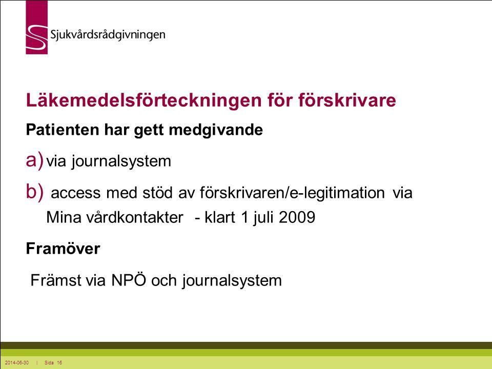 2014-06-30 | Sida 16 Läkemedelsförteckningen för förskrivare Patienten har gett medgivande a) via journalsystem b) access med stöd av förskrivaren/e-l