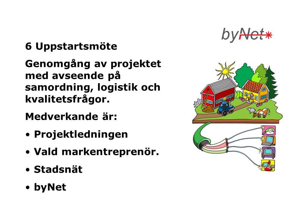 6 Uppstartsmöte Genomgång av projektet med avseende på samordning, logistik och kvalitetsfrågor. Medverkande är: • Projektledningen • Vald markentrepr
