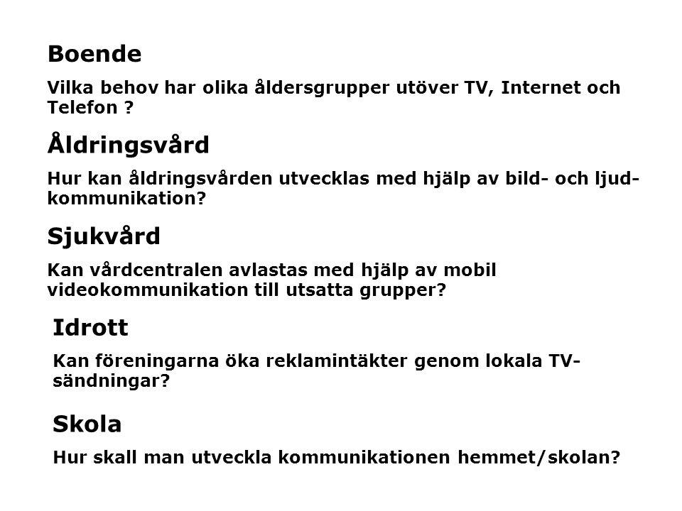 Boende Vilka behov har olika åldersgrupper utöver TV, Internet och Telefon ? Åldringsvård Hur kan åldringsvården utvecklas med hjälp av bild- och ljud