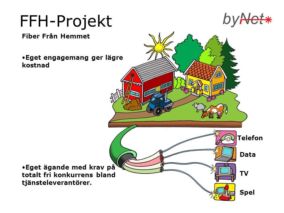 FFH-Projekt Fiber Från Hemmet •Eget engagemang ger lägre kostnad •Eget ägande med krav på totalt fri konkurrens bland tjänsteleverantörer. Spel TV Dat