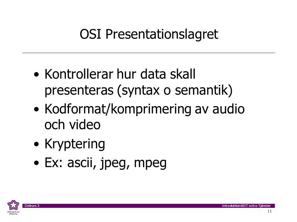 Introduktion till IT och e-Tjänster Delkurs 3 11 OSI Presentationslagret •Kontrollerar hur data skall presenteras (syntax o semantik) •Kodformat/kompr