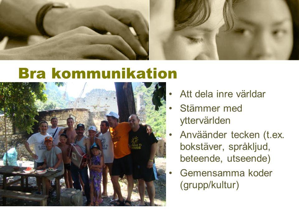 Bra kommunikation •Att dela inre världar •Stämmer med yttervärlden •Anväänder tecken (t.ex. bokstäver, språkljud, beteende, utseende) •Gemensamma kode