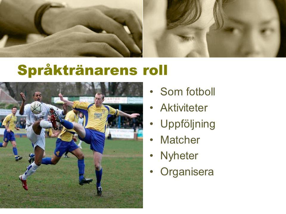 Språktränarens roll •Som fotboll •Aktiviteter •Uppföljning •Matcher •Nyheter •Organisera