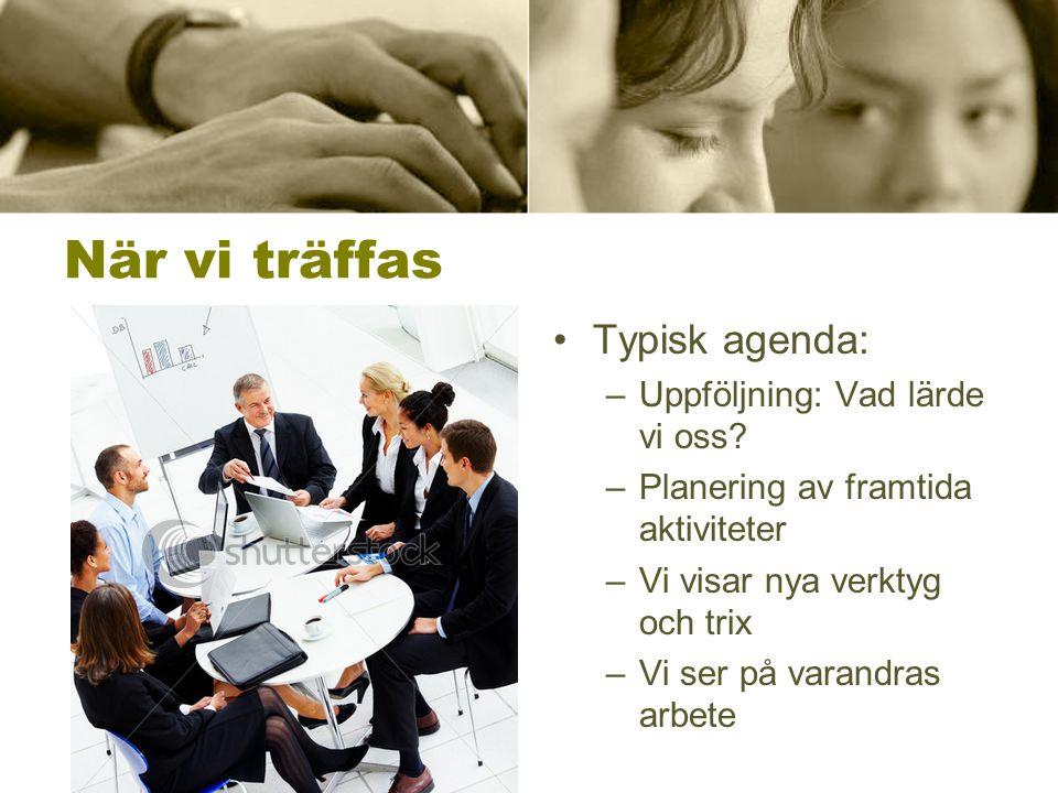 När vi träffas •Typisk agenda: –Uppföljning: Vad lärde vi oss? –Planering av framtida aktiviteter –Vi visar nya verktyg och trix –Vi ser på varandras