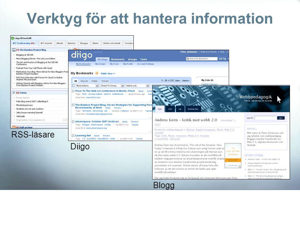 RSS-läsare Diigo Blogg Verktyg för att hantera information