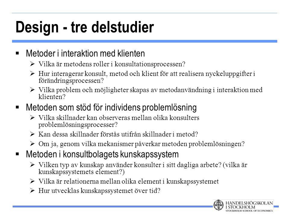 Design - tre delstudier  Metoder i interaktion med klienten  Vilka är metodens roller i konsultationsprocessen?  Hur interagerar konsult, metod och