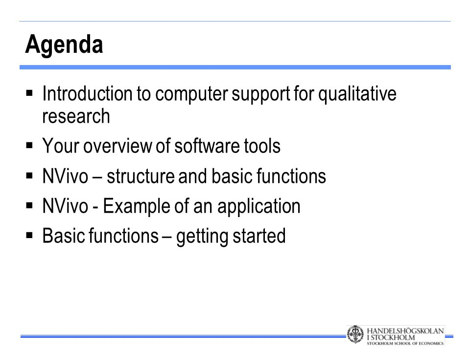 Areas in which the computer may help  Acquire and store empirical observations  Using digital media to store data (sound/images/films) make data easily accessible  Internet as a source of data  Analyze qualitative data  Software can support structuring and data reduction of qualitative material (mainly text, but increasingly sound and image as well)  Organize and structure reading  Reference management software supports structure and a systematic approach to the reading and writing processes