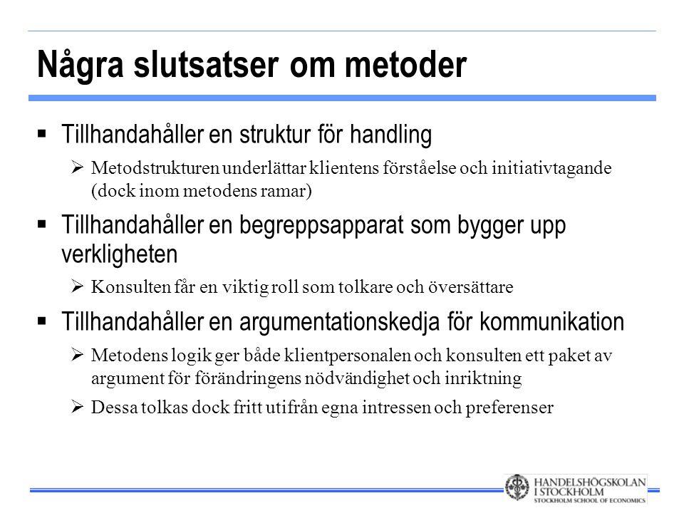 Några slutsatser om metoder  Tillhandahåller en struktur för handling  Metodstrukturen underlättar klientens förståelse och initiativtagande (dock i