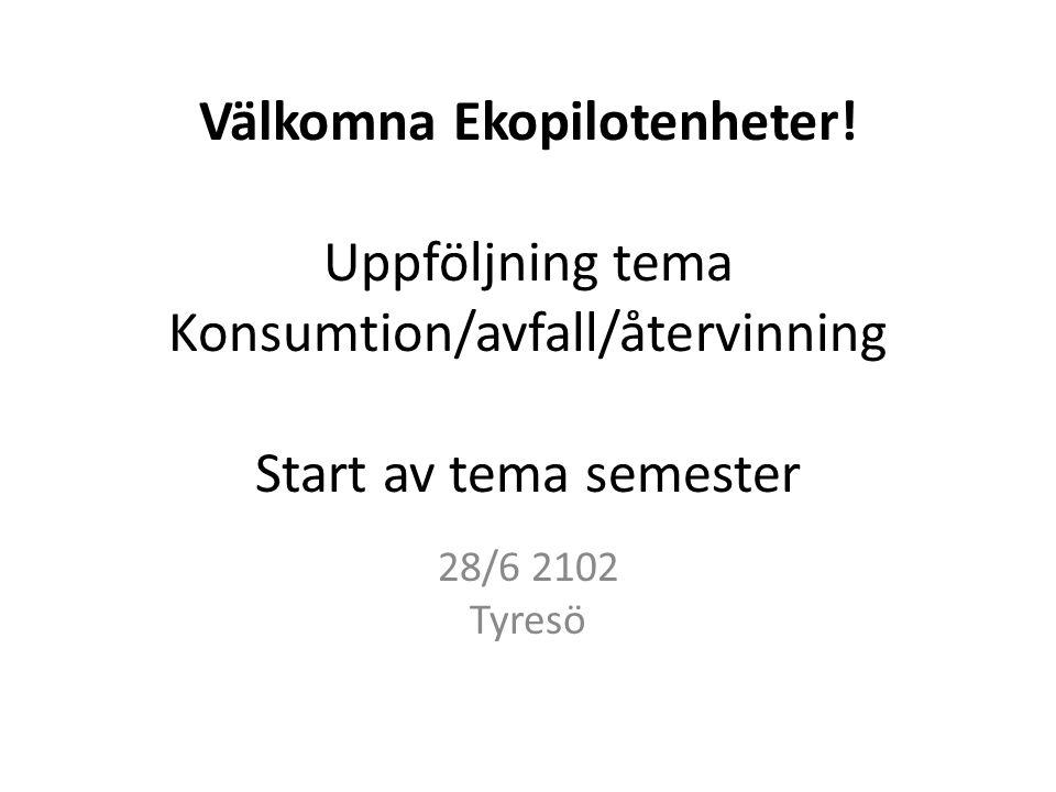 Välkomna Ekopilotenheter! Uppföljning tema Konsumtion/avfall/återvinning Start av tema semester 28/6 2102 Tyresö