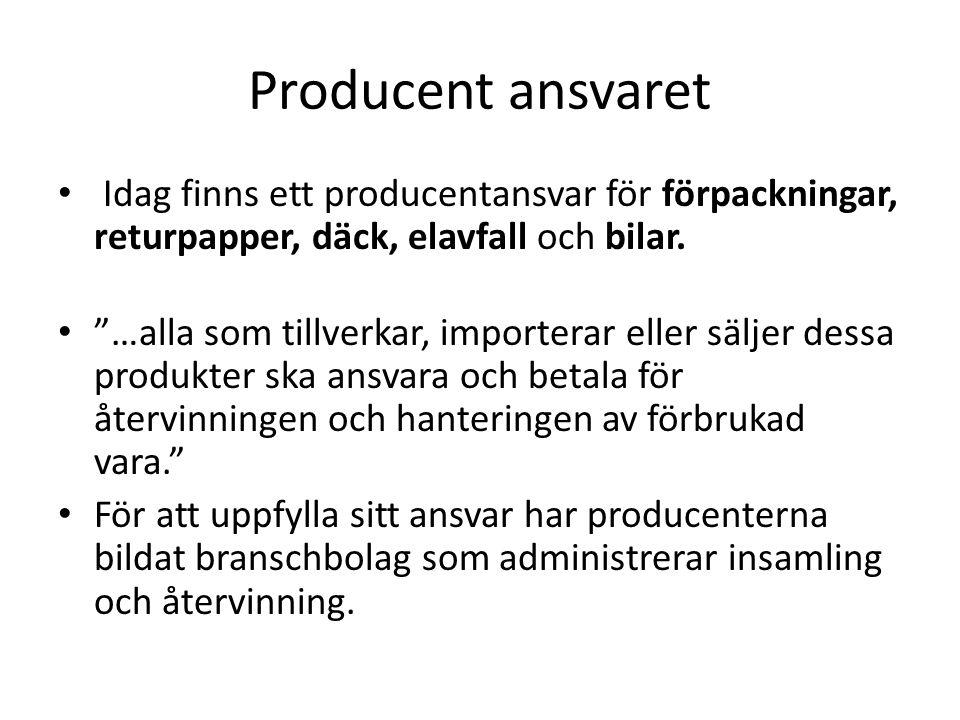 """Producent ansvaret • Idag finns ett producentansvar för förpackningar, returpapper, däck, elavfall och bilar. • """"…alla som tillverkar, importerar elle"""