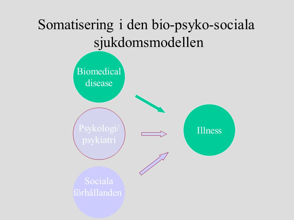Biomedical disease Illness Psykologi/ psykiatri Sociala förhållanden Somatisering i den bio-psyko-sociala sjukdomsmodellen